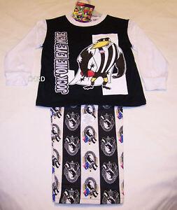 Collingwood Magpies AFL Boys Cotton Flannel Pyjama Set Size 4 New