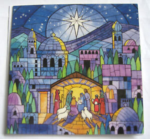 10 CHRISTMAS CARDS WITH ENVELOPES. 'Stained Glass Nativity'