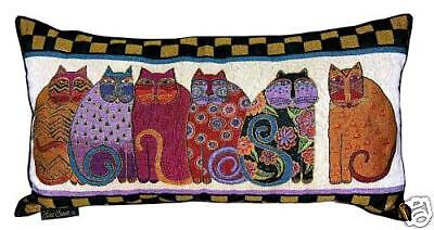 Laurel Burch Feline Cat Friends Decorative Tapestry Throw Pillow New