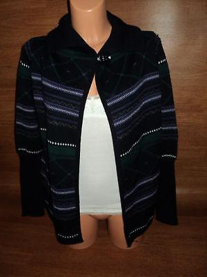 $90 Womens Size S Small Simona Spelta Nordic Cardigan Sweater Wool Blend