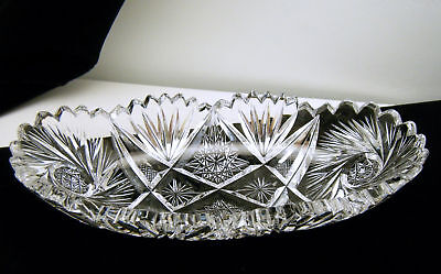 "Brilliant Cut Glass Crystal Relish Boat Oval 7 3/4"" Long Celery Dish on Lookza"