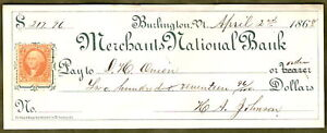 1868-Merchants-National-BANK-CHECK-DRAFT-Burlington-VT