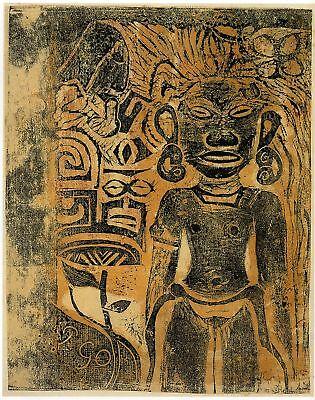 Gauguin Woodcuts: Tahitian Idol, Hina - Fine Art Print