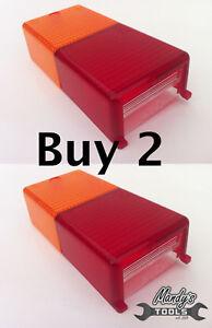 Rear Rectangular Trailer Lamp Light Spare Lens Replacement Lenses x 2