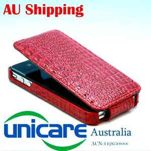 Red crocodile leather flip case cover for iphone 4 4G