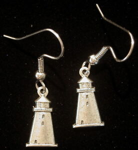 Lighthouse-Light-House-Earrings-Matte-Silver-Ox-Small