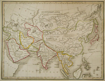 1835 Genuine Antique map of southern Asia, Bradford