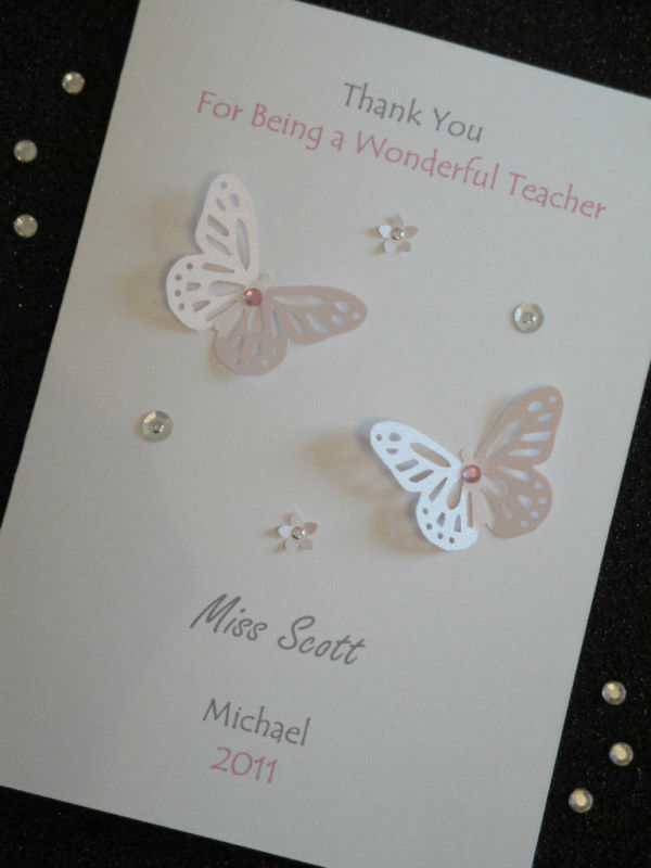 Details about Handmade Personalised Thank You Teacher / Birthday Card