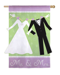 MR & MRS WEDDING CELEBRATION Applique Evergreen Decorative House Flag