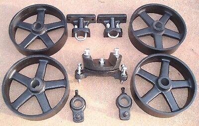 Antique Hit Miss Gas Engine Cast Iron Cart Truck Parts Set Five Spoke Wheels