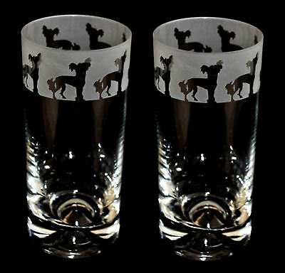 CHINESE CRESTED FRIEZE *DOG GIFT* Boxed PAIR GLASS HIGHBALL TUMBLER