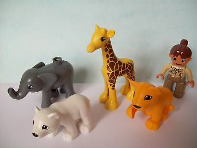 Lego Duplo Zoo Tierbabys 4962 Elefant Giraffe Löwe Eisbär Zoofrau Neu