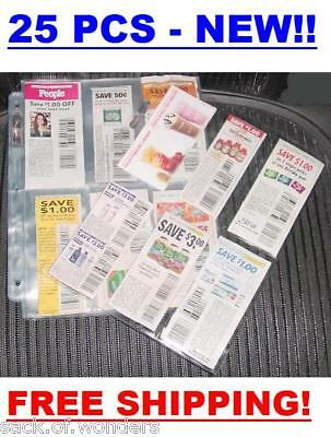(25) Coupon Sleeves Pages For Binder 6 Pockets - Organizer, Inserts