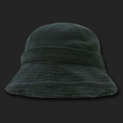 Black Terrycloth Floppy Style Bucket Sun Hat Hats Cap Caps