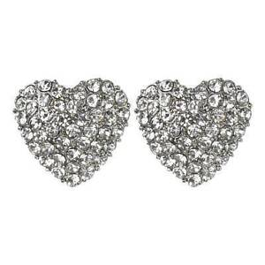 BEAUTUFUL HEART SHAPED DIAMANTE RHINESTONES EARRINGS UK