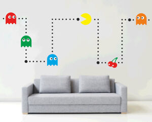 PACMAN - Wall art sticker kit [Vinyl, kids, retro, games room, cool, bedrroom]G1
