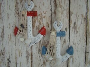 2-Wooden-Anchor-Wall-Hooks-Wood-Nautical-Boat-Decor