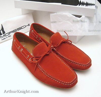 Russell & Bromley London Mens Red Suede Moreschi Italian Driving Shoes