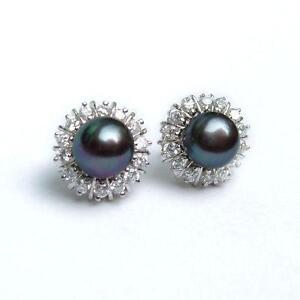 8-9mm-Akoya-Black-Natural-Pearl-Earring-AAA-Grade