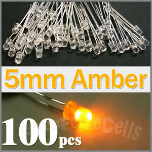 100-5mm-2-Pin-Round-Amber-LED-Light-Emitting-Diode-Lamp