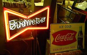 Vintage-Budweiser-Beer-Bow-Tie-Neon-Light-Bar-Sign