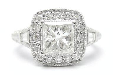 2.25CT PRINCESS CUT ANTIQUE DIAMOND ENGAGEMENT RING