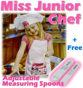 Kids Junior Chef Hat Apron Measuring Spoon Baking Set★★