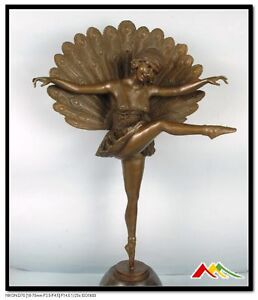 SIGNED:M.Pellier, Bronze statue art deco peacock dancer