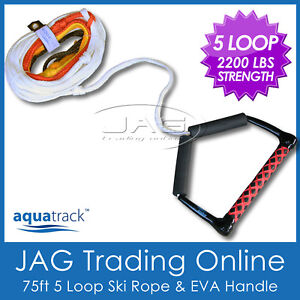 5-LOOP-WATER-SKI-WAKEBOARD-ROPE-Rainbow-Coloured-with-12-EVA-Handle-Floats
