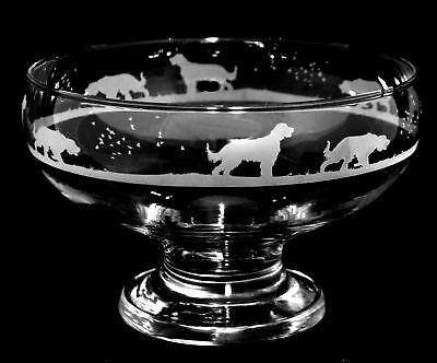 *DOG GIFT* GORDON SETTER (open frieze) ~ FOOTED GLASS BOWL *DOG GIFT*