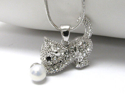 NEW CRYSTAL KITTY CAT PENDANT NECKLACE WHITE GOLD on Rummage