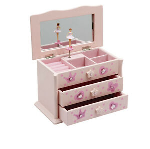Girls Pink Beautiful Ballet Dance Wooden Music Jewellery Box Katz Dancewear JB01