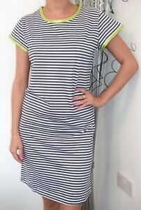LADIES-SHORT-SLEEVED-NIGHT-DRESS-NAVY-WHITE-STRIPED-NIGHTSHIRT-NIGHTDRESS-NEW