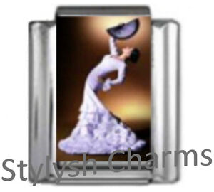 DANCE-SPANISH-FLAMENCO-DANCER-Photo-Italian-Charm-9mm-Link-1x-MD045-Single-Link