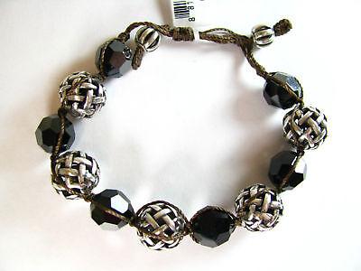Brighton Dream Weaver Black & Silver Bead Bracelet