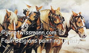 LARGE-FINE-ART-PAINTING-PRINT-4-Belgian-Draft-Horses-farm-plow-Signed-Ltd-Ed