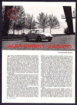 1962 Alfa Sprint Zagato Road Test & Technical Data