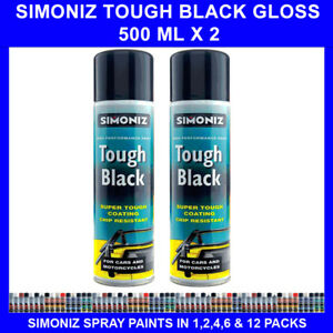 2 X 500 ML SIMONIZ TOUGH GLOSS BLACK SPRAY PAINT