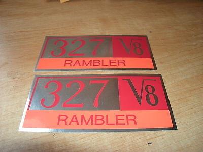 1965 Amc Rambler 327 V8 Engine Valve Cover Decals Pair