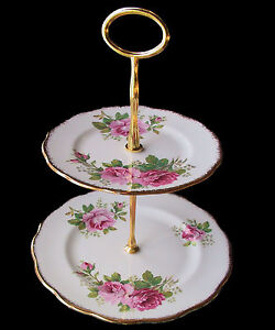 Royal Albert AMERICAN BEAUTY 2 Teir Cake Stand 1st Eng
