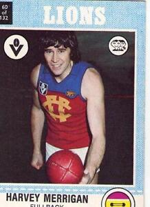 1977 AFL VFL SCANLENS LIONS HARVEY MERRIGAN CARD 60