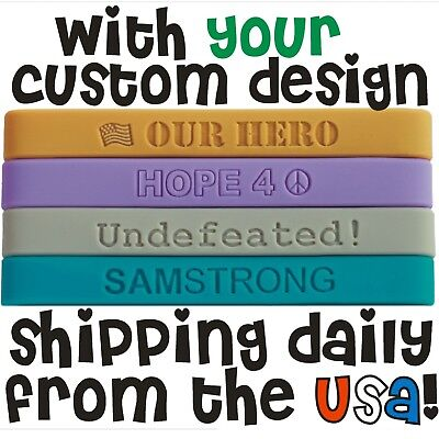 100 Custom Silicone Wristbands Bands Fast Free Shipping Debossed Silicone Bands