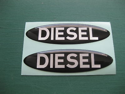 2 DOMED OVAL DIESEL STICKERS IN BLACK WITH SILVER TEXT