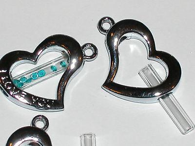 1 Fillable Glass Heart Pendant Tube Bottle Vial Charm Cage Locket