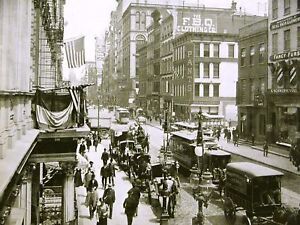 BROADWAY Central Hotel Wholesale Houses Bank 1899 Print Matted