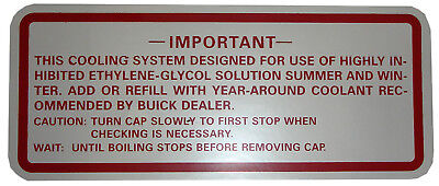1962 1963 1964 Buick Skylark Cooling System Decal