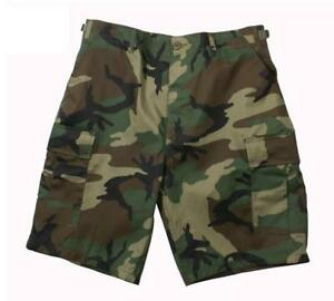 Woodland-Camo-Rip-Stop-or-Poly-Cotton-Blend-B-D-U-Combat-Shorts