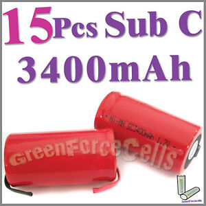 15 Pcs SubC Sub C 3400mAh NiMH Rechargeable Battery Tab