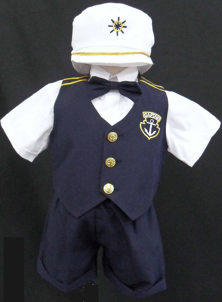 Baby Toddler Boy Kid Navy Sailor Outfit Suit Set Size 0 1 2 3 4 5 (0-24m)