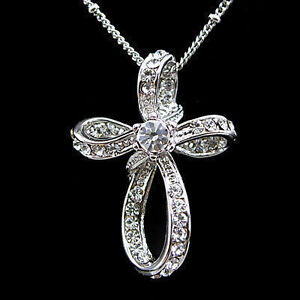 Elegant Cross USE SWAROVSKI Crystal 18K White Gold-Plated Necklace